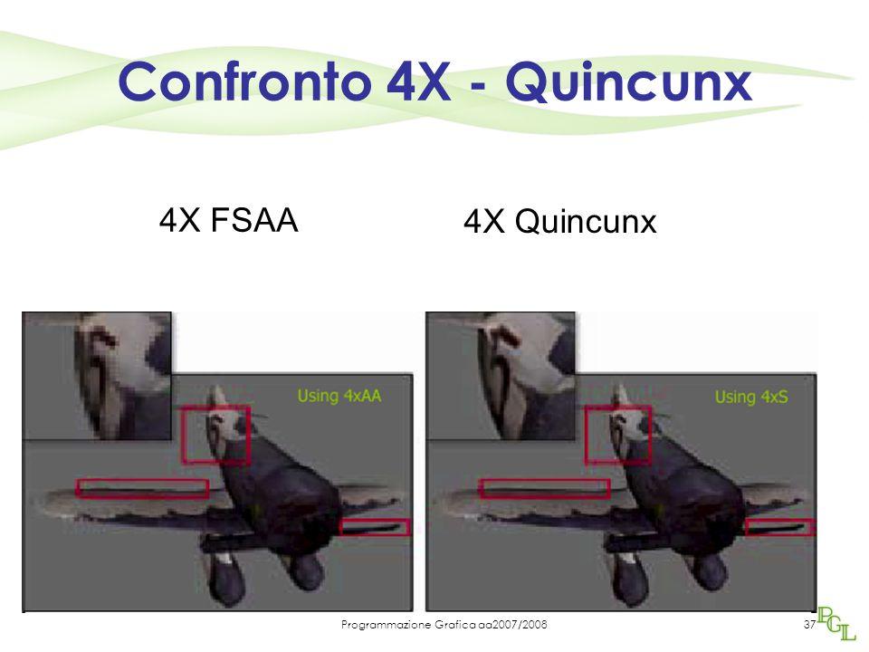 Programmazione Grafica aa2007/200837 Confronto 4X - Quincunx 4X FSAA 4X Quincunx