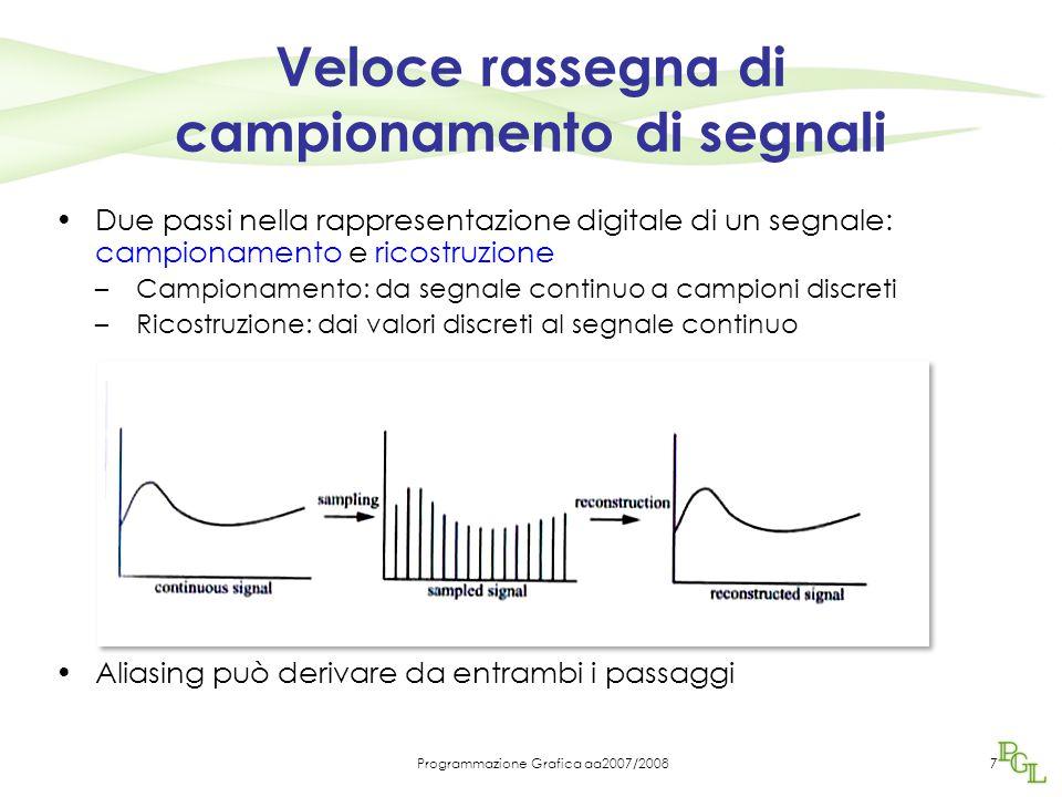 Programmazione Grafica aa2007/20087 Veloce rassegna di campionamento di segnali Due passi nella rappresentazione digitale di un segnale: campionamento