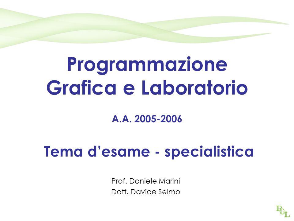 Programmazione Grafica e Laboratorio A.A. 2005-2006 Tema d'esame - specialistica Prof.