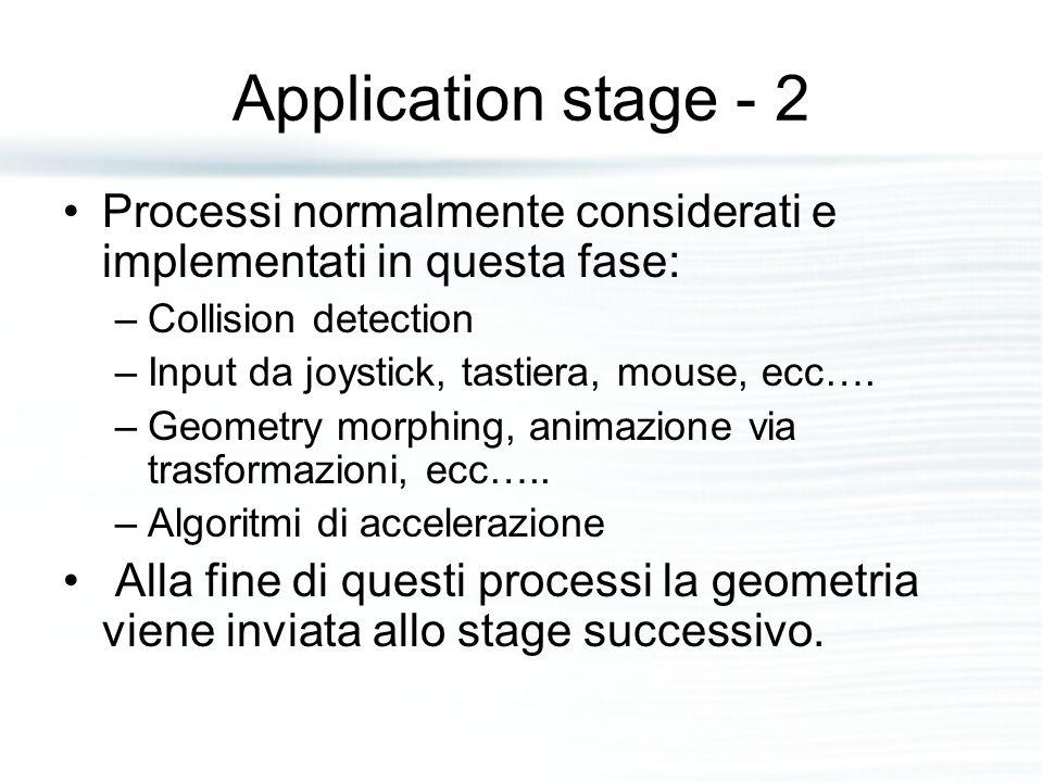 Application stage - 2 Processi normalmente considerati e implementati in questa fase: –Collision detection –Input da joystick, tastiera, mouse, ecc….