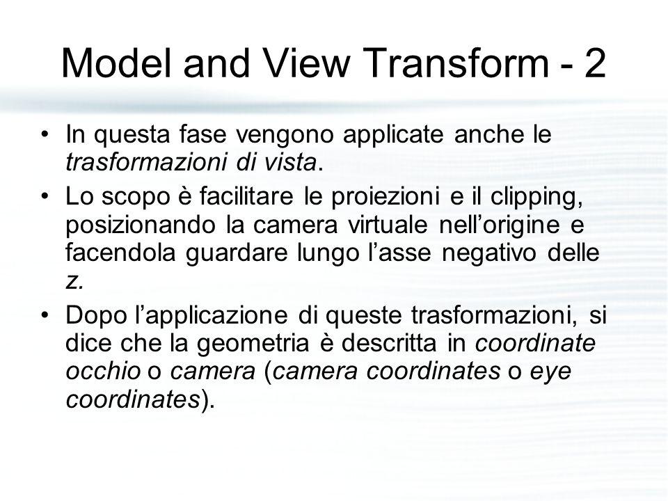 Lighting and Shading In questa fase normalmente vengono applicati modelli di illuminazione che cercano di simulare l'interazione tra luce e materiali dei modelli della scena.