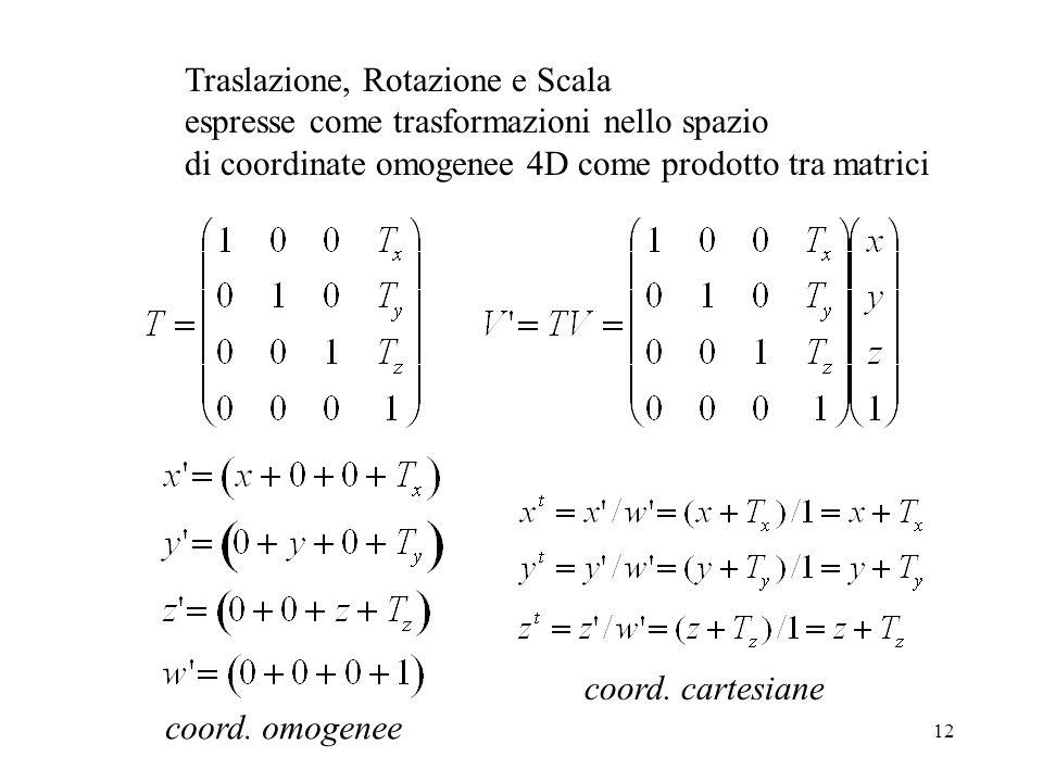 12 Traslazione, Rotazione e Scala espresse come trasformazioni nello spazio di coordinate omogenee 4D come prodotto tra matrici coord.