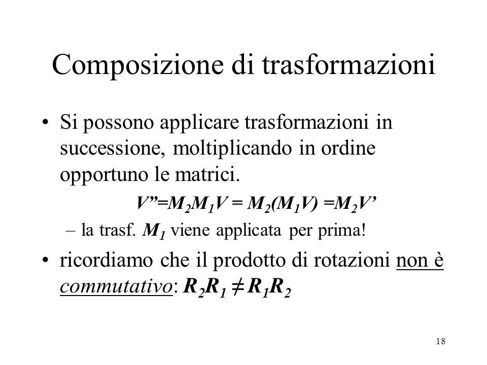 18 Composizione di trasformazioni Si possono applicare trasformazioni in successione, moltiplicando in ordine opportuno le matrici.