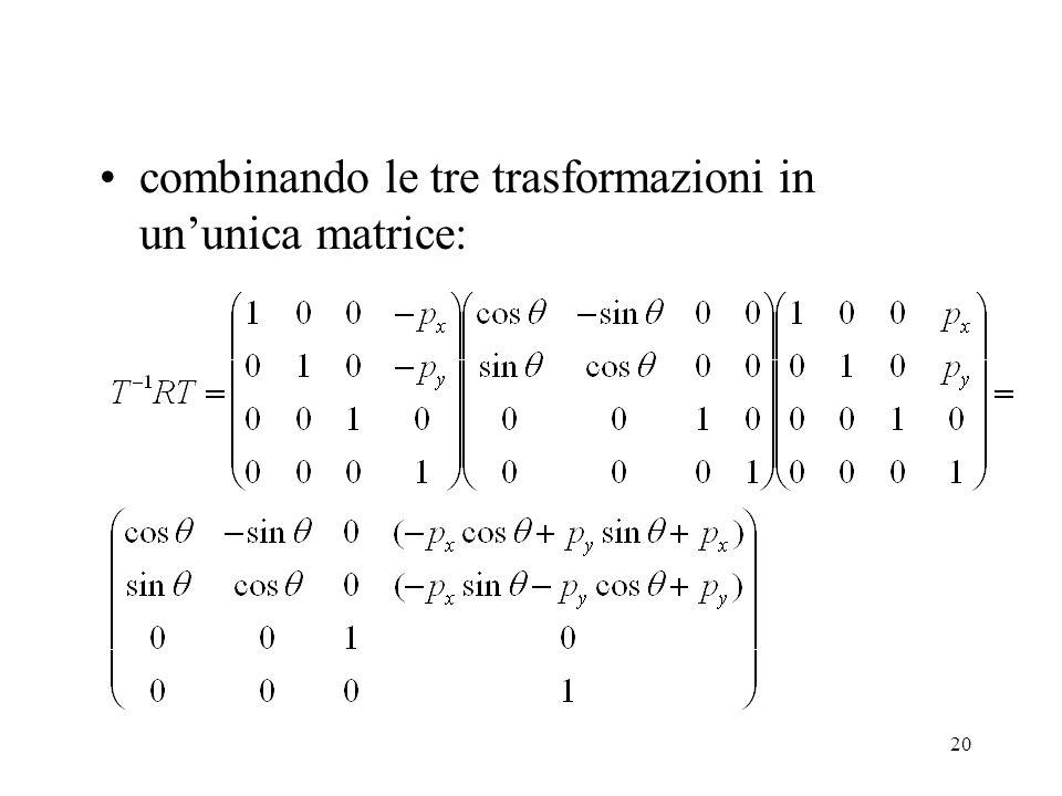 20 combinando le tre trasformazioni in un'unica matrice: