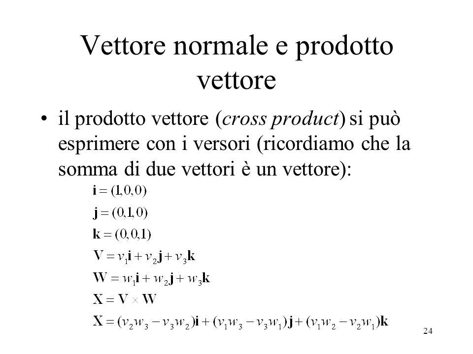 24 Vettore normale e prodotto vettore il prodotto vettore (cross product) si può esprimere con i versori (ricordiamo che la somma di due vettori è un vettore):