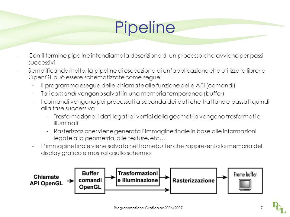Programmazione Grafica aa2006/20077 Pipeline -Con il termine pipeline intendiamo la descrizione di un processo che avviene per passi successivi -Semplificando molto, la pipeline di esecuzione di un'applicazione che utilizza le librerie OpenGL può essere schematizzate come segue: -Il programma esegue delle chiamate alle funzione delle API (comandi) -Tali comandi vengono salvati in una memoria temporanea (buffer) -I comandi vengono poi processati a seconda dei dati che trattano e passati quindi alla fase successiva -Trasformazione: i dati legati ai vertici della geometria vengono trasformati e illuminati -Rasterizzazione: viene generata l'immagine finale in base alle informazioni legate alla geometria, alle texture, etc… -L'immagine finale viene salvata nel framebuffer che rappresenta la memoria del display grafico e mostrata sullo schermo