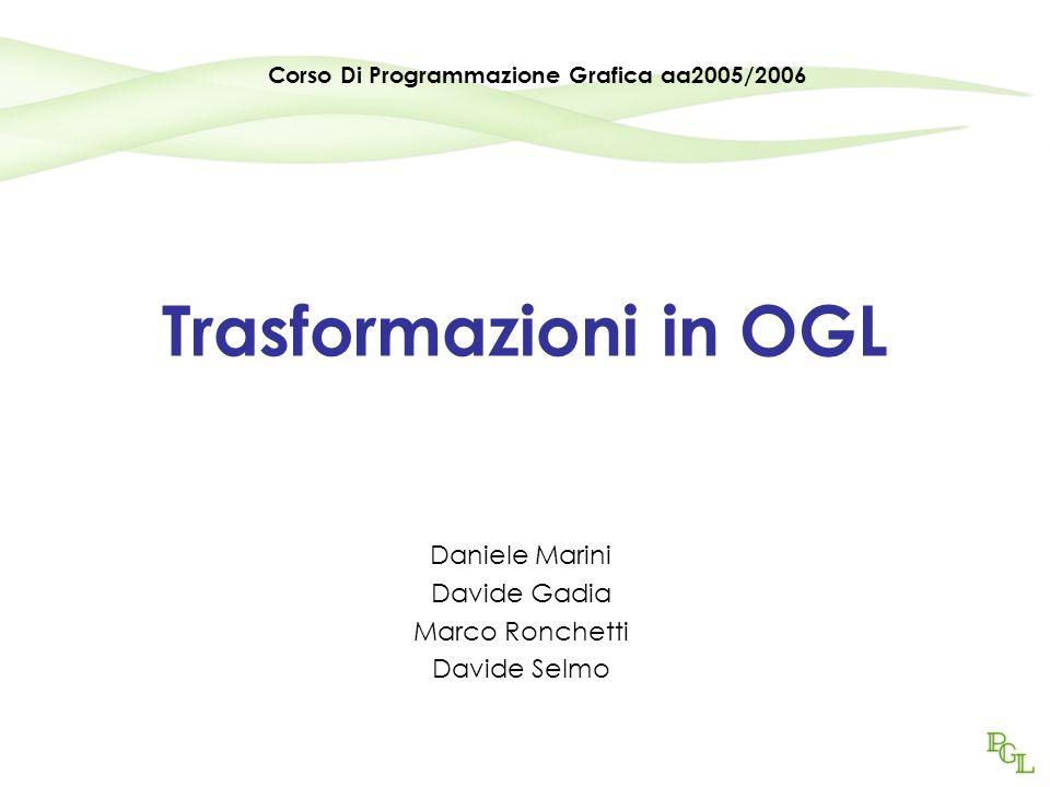 Trasformazioni in OGL Daniele Marini Davide Gadia Marco Ronchetti Davide Selmo Corso Di Programmazione Grafica aa2005/2006