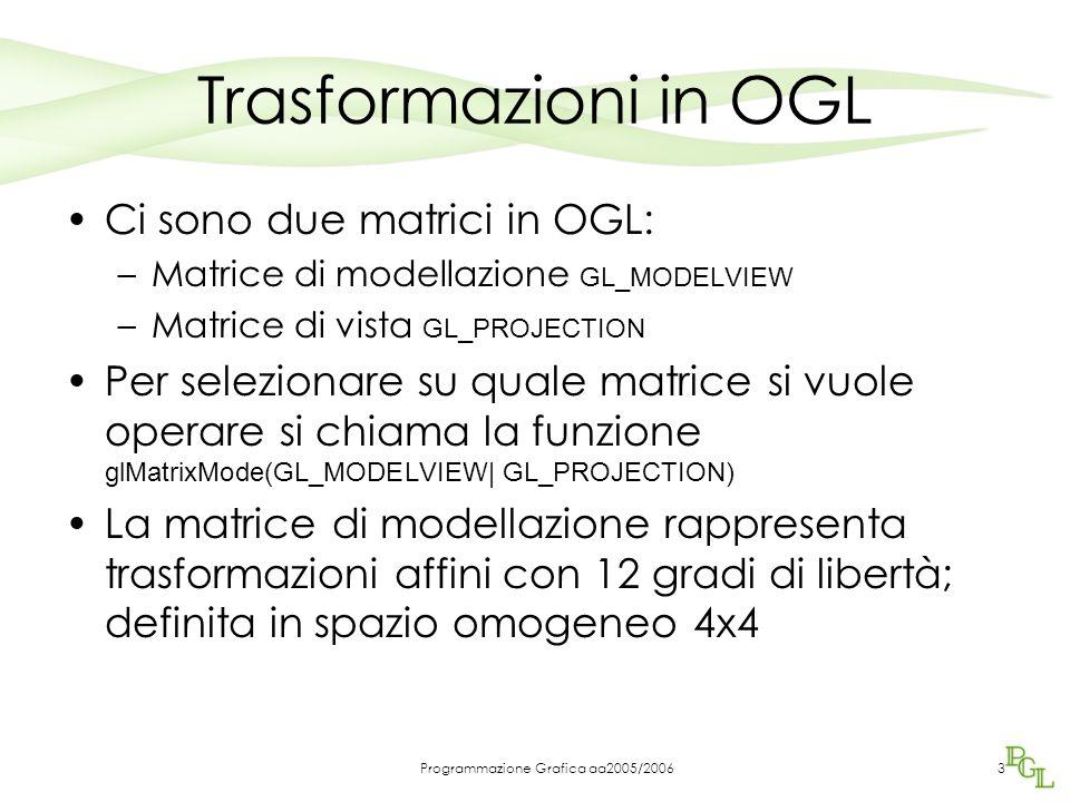 Programmazione Grafica aa2005/20063 Trasformazioni in OGL Ci sono due matrici in OGL: –Matrice di modellazione GL_MODELVIEW –Matrice di vista GL_PROJECTION Per selezionare su quale matrice si vuole operare si chiama la funzione glMatrixMode(GL_MODELVIEW| GL_PROJECTION) La matrice di modellazione rappresenta trasformazioni affini con 12 gradi di libertà; definita in spazio omogeneo 4x4