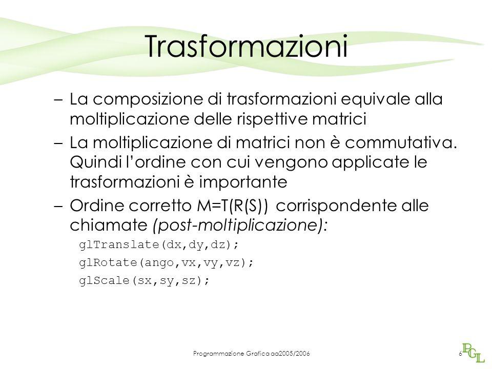 Programmazione Grafica aa2005/20066 Trasformazioni –La composizione di trasformazioni equivale alla moltiplicazione delle rispettive matrici –La moltiplicazione di matrici non è commutativa.