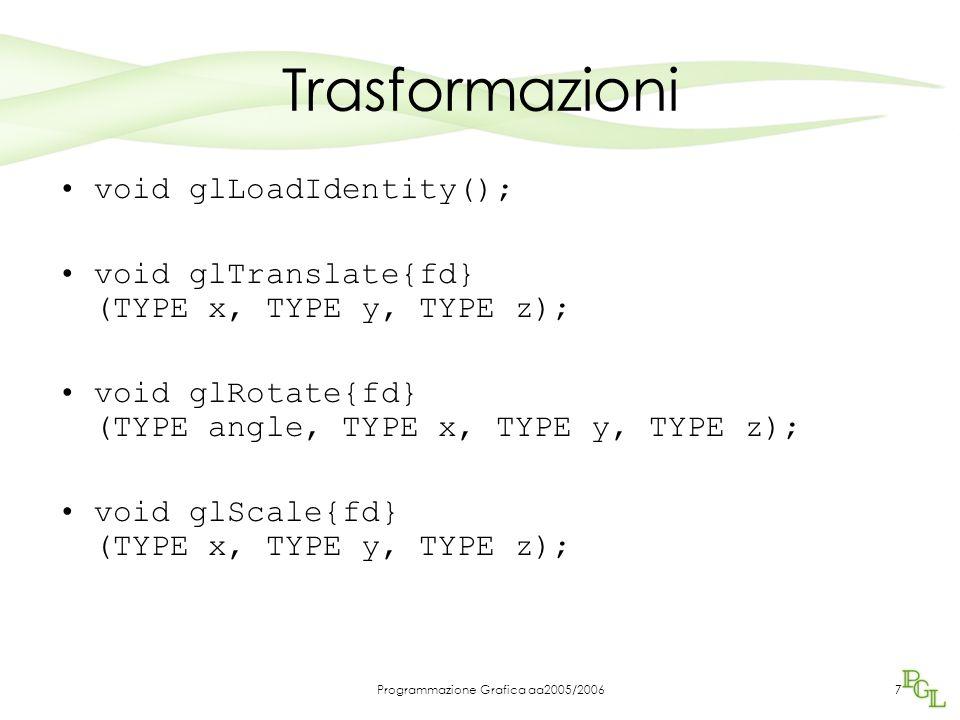 Programmazione Grafica aa2005/20067 Trasformazioni void glLoadIdentity(); void glTranslate{fd} (TYPE x, TYPE y, TYPE z); void glRotate{fd} (TYPE angle, TYPE x, TYPE y, TYPE z); void glScale{fd} (TYPE x, TYPE y, TYPE z);