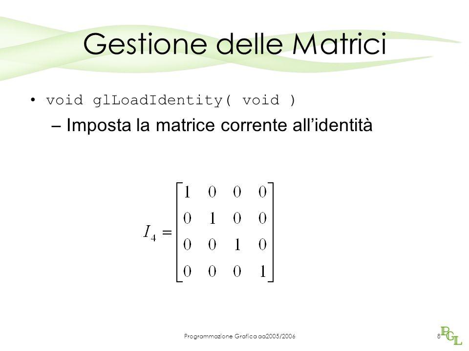 Programmazione Grafica aa2005/20068 Gestione delle Matrici void glLoadIdentity( void ) –Imposta la matrice corrente all'identità