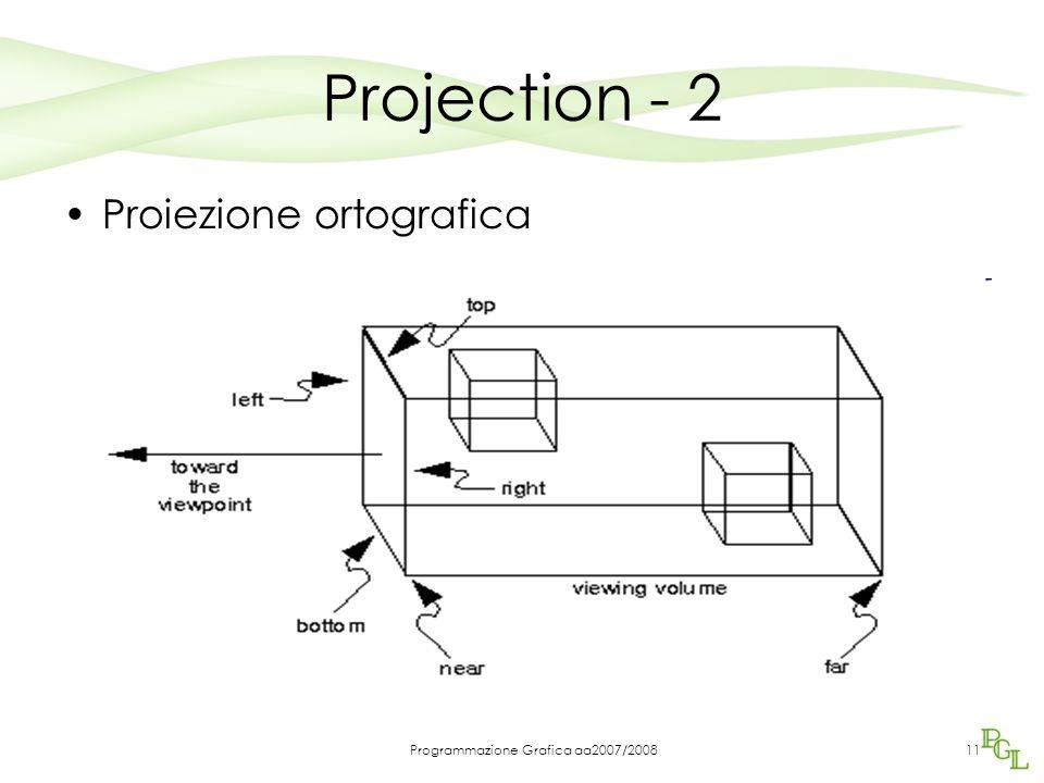 Programmazione Grafica aa2007/200811 Projection - 2 Proiezione ortografica