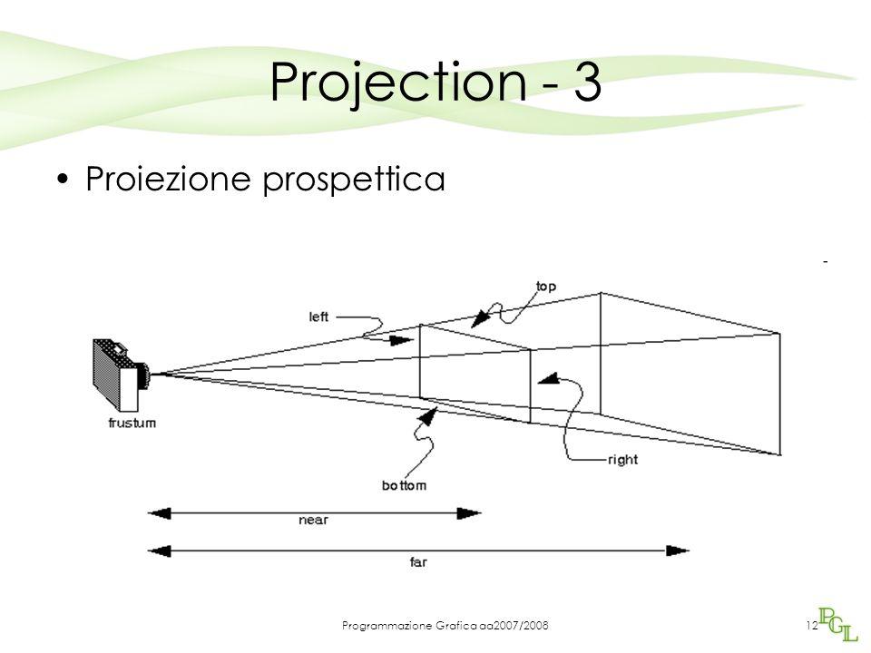Programmazione Grafica aa2007/200812 Projection - 3 Proiezione prospettica