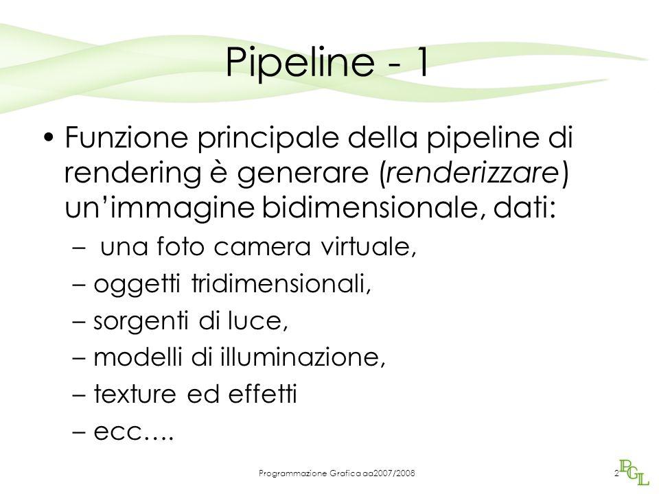 Programmazione Grafica aa2007/20082 Pipeline - 1 Funzione principale della pipeline di rendering è generare (renderizzare) un'immagine bidimensionale, dati: – una foto camera virtuale, –oggetti tridimensionali, –sorgenti di luce, –modelli di illuminazione, –texture ed effetti –ecc….