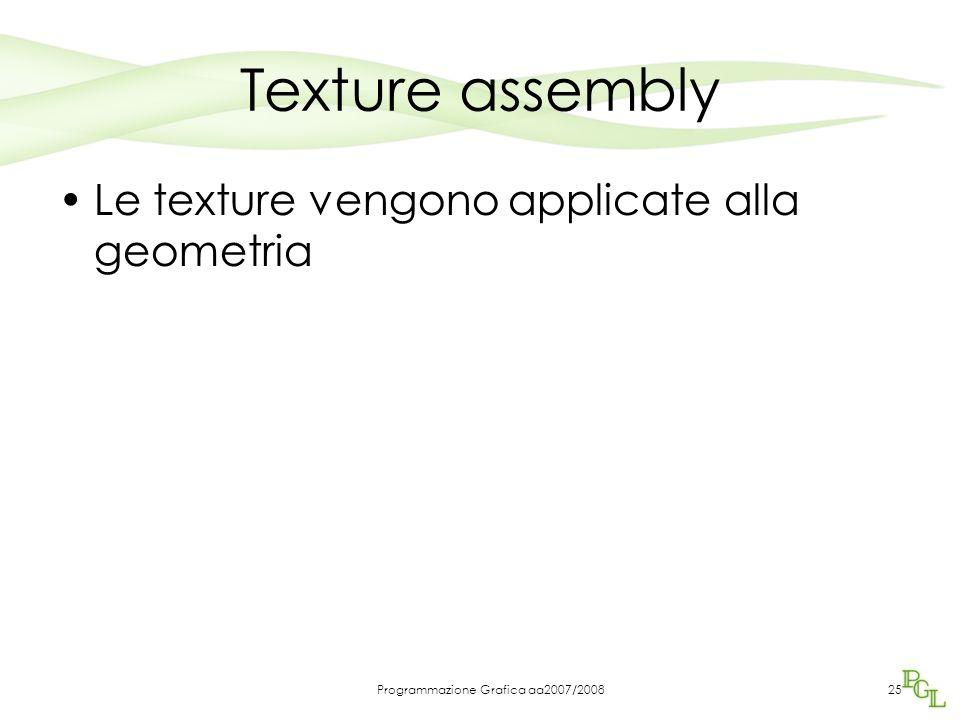 Programmazione Grafica aa2007/200825 Texture assembly Le texture vengono applicate alla geometria