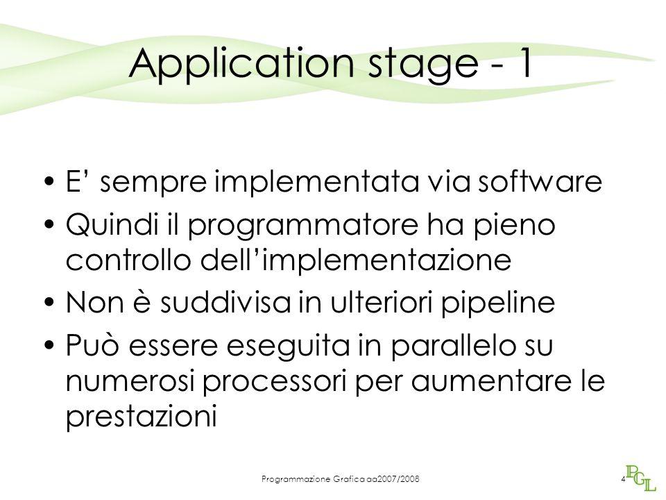 Programmazione Grafica aa2007/20084 Application stage - 1 E' sempre implementata via software Quindi il programmatore ha pieno controllo dell'implementazione Non è suddivisa in ulteriori pipeline Può essere eseguita in parallelo su numerosi processori per aumentare le prestazioni