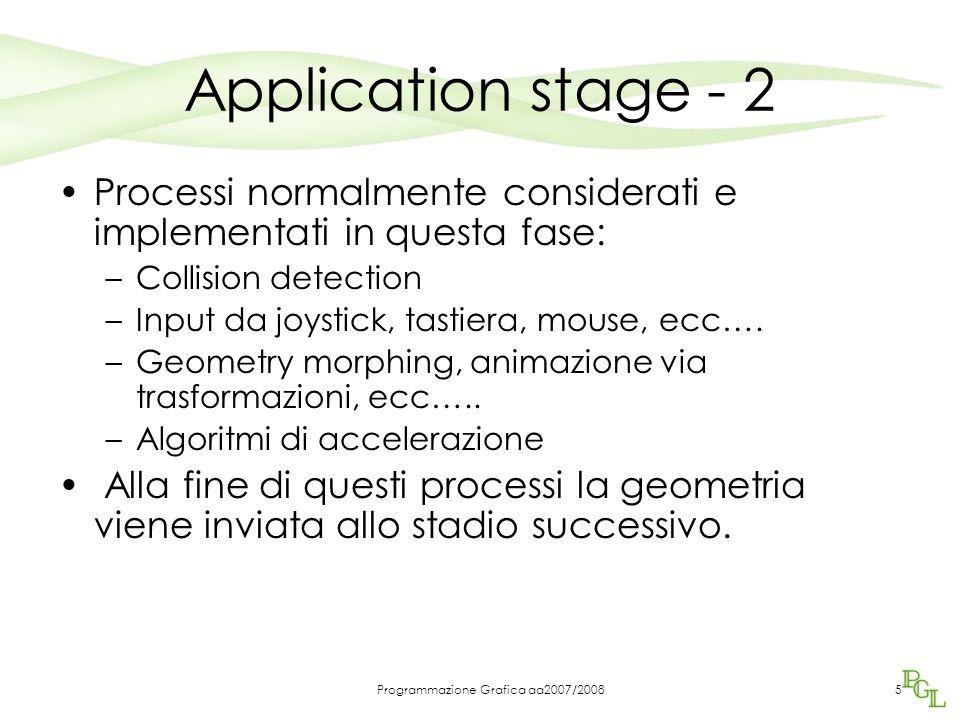 Programmazione Grafica aa2007/20085 Application stage - 2 Processi normalmente considerati e implementati in questa fase: –Collision detection –Input da joystick, tastiera, mouse, ecc….