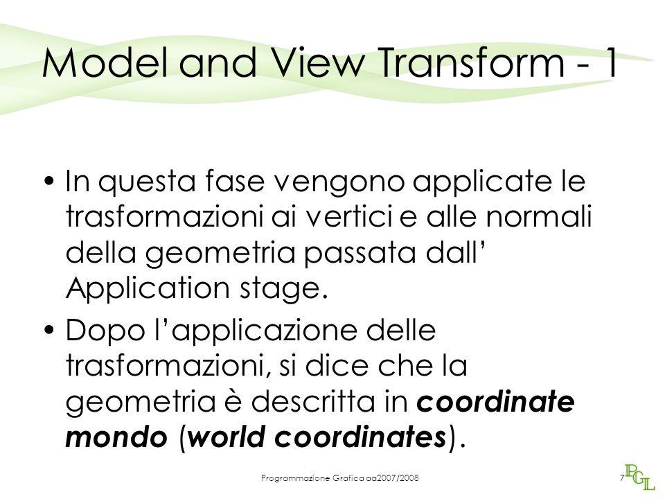 Programmazione Grafica aa2007/20087 Model and View Transform - 1 In questa fase vengono applicate le trasformazioni ai vertici e alle normali della geometria passata dall' Application stage.