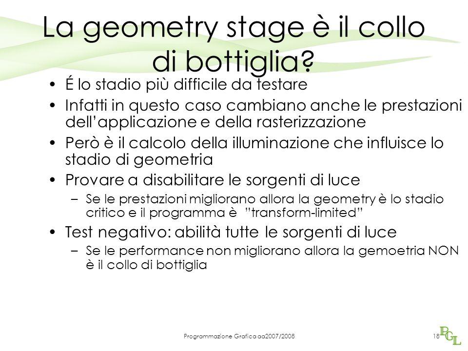 Programmazione Grafica aa2007/2008 La geometry stage è il collo di bottiglia.