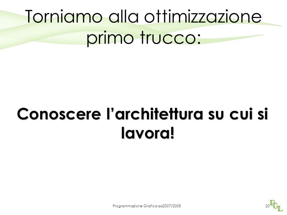 Programmazione Grafica aa2007/2008 Torniamo alla ottimizzazione primo trucco: Conoscere l'architettura su cui si lavora.