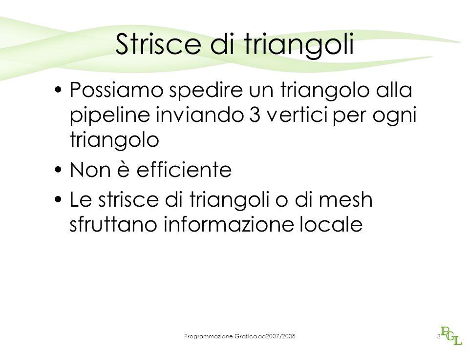 Programmazione Grafica aa2007/2008 Strisce di triangoli Possiamo spedire un triangolo alla pipeline inviando 3 vertici per ogni triangolo Non è efficiente Le strisce di triangoli o di mesh sfruttano informazione locale 3