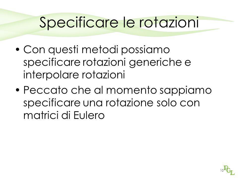 10 Specificare le rotazioni Con questi metodi possiamo specificare rotazioni generiche e interpolare rotazioni Peccato che al momento sappiamo specifi