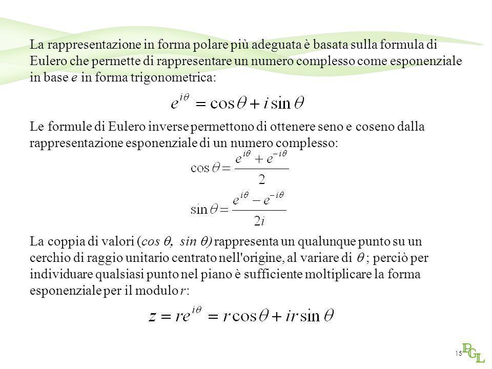 15 La rappresentazione in forma polare più adeguata è basata sulla formula di Eulero che permette di rappresentare un numero complesso come esponenzia