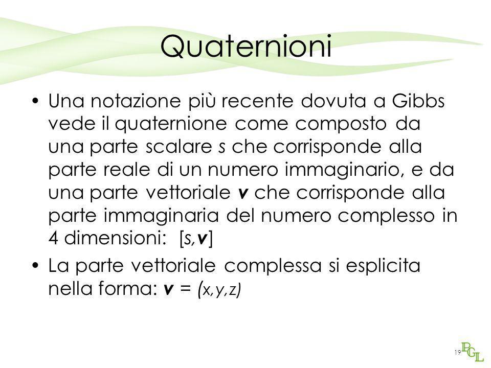 19 Quaternioni Una notazione più recente dovuta a Gibbs vede il quaternione come composto da una parte scalare s che corrisponde alla parte reale di u