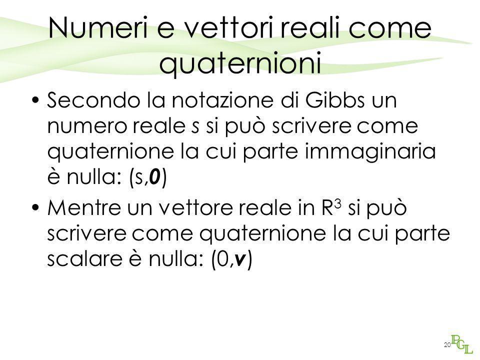 20 Numeri e vettori reali come quaternioni Secondo la notazione di Gibbs un numero reale s si può scrivere come quaternione la cui parte immaginaria è