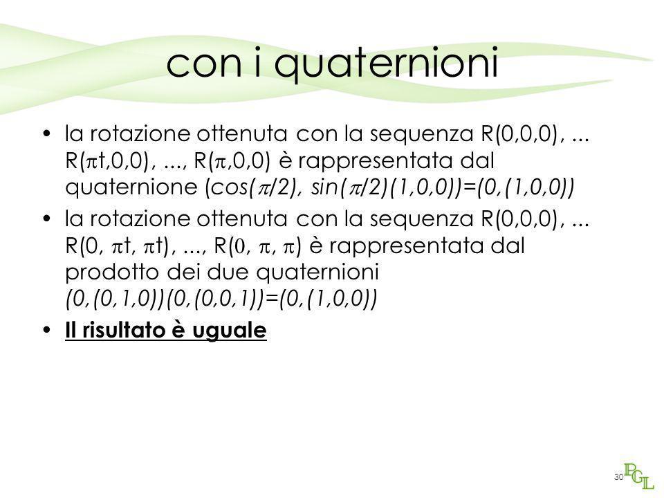 30 con i quaternioni la rotazione ottenuta con la sequenza R(0,0,0),... R(  t,0,0),..., R( ,0,0) è rappresentata dal quaternione (cos(  /2), sin( 