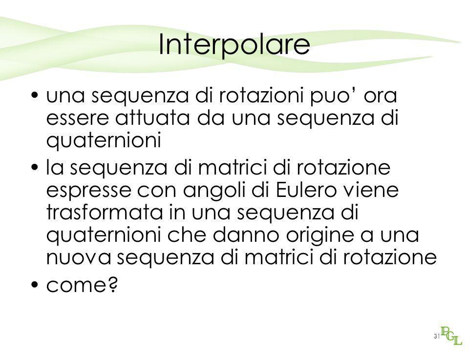 31 Interpolare una sequenza di rotazioni puo' ora essere attuata da una sequenza di quaternioni la sequenza di matrici di rotazione espresse con angol