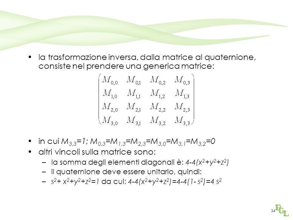 34 la trasformazione inversa, dalla matrice al quaternione, consiste nel prendere una generica matrice: in cui M 3,3 =1; M 0,3 =M 1,3 =M 2,3 =M 3,0 =M