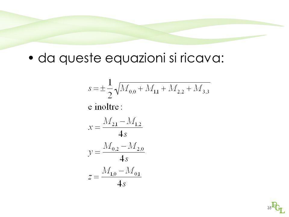 35 da queste equazioni si ricava: