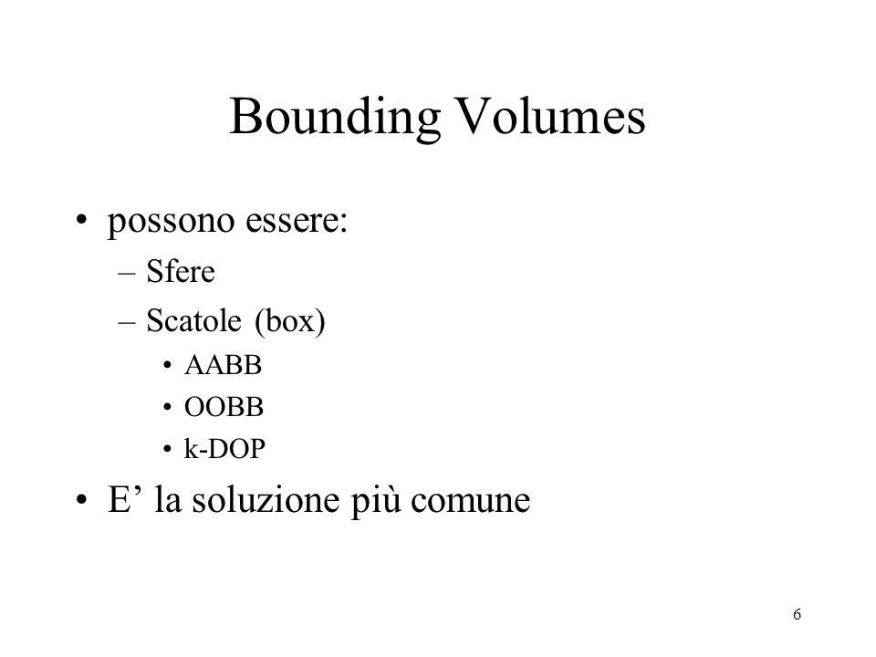 6 Bounding Volumes possono essere: –Sfere –Scatole (box) AABB OOBB k-DOP E' la soluzione più comune