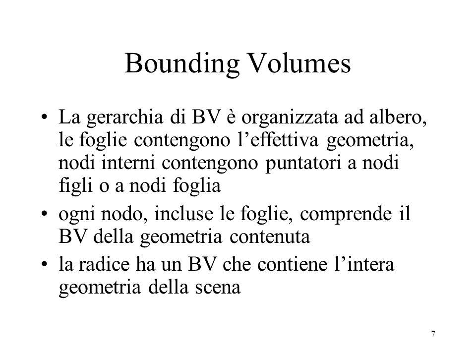 7 Bounding Volumes La gerarchia di BV è organizzata ad albero, le foglie contengono l'effettiva geometria, nodi interni contengono puntatori a nodi figli o a nodi foglia ogni nodo, incluse le foglie, comprende il BV della geometria contenuta la radice ha un BV che contiene l'intera geometria della scena