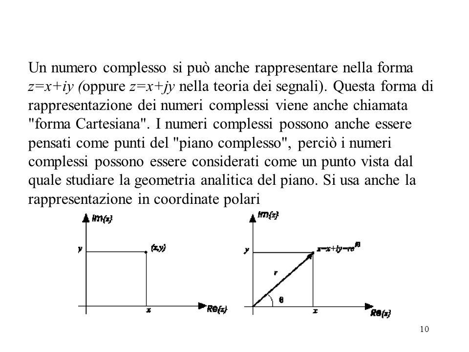 10 Un numero complesso si può anche rappresentare nella forma z=x+iy (oppure z=x+jy nella teoria dei segnali).