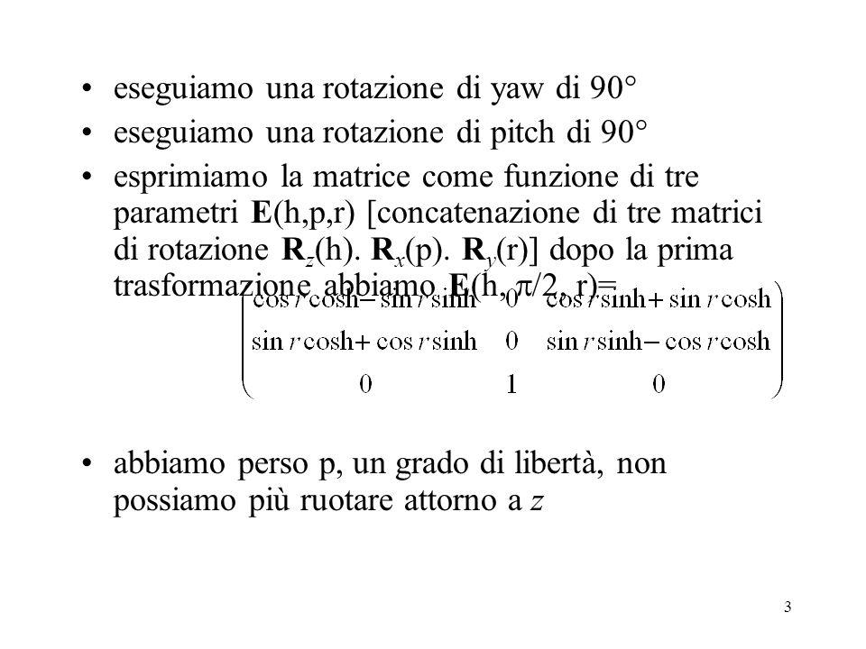 14 I quaternioni la rotazione di un vettore r di un angolo si può esprimere con un operatore chiamato quaternione, caratterizzato da 4 numeri reali abbiamo 4 gradi di libertà invece dei 9 elementi della matrice useremo quaternioni unitari i quaternioni possono essere considerati come una generalizzazione dei numeri complessi, con uno scalare s come parte reale e un vettore v come parte immaginaria