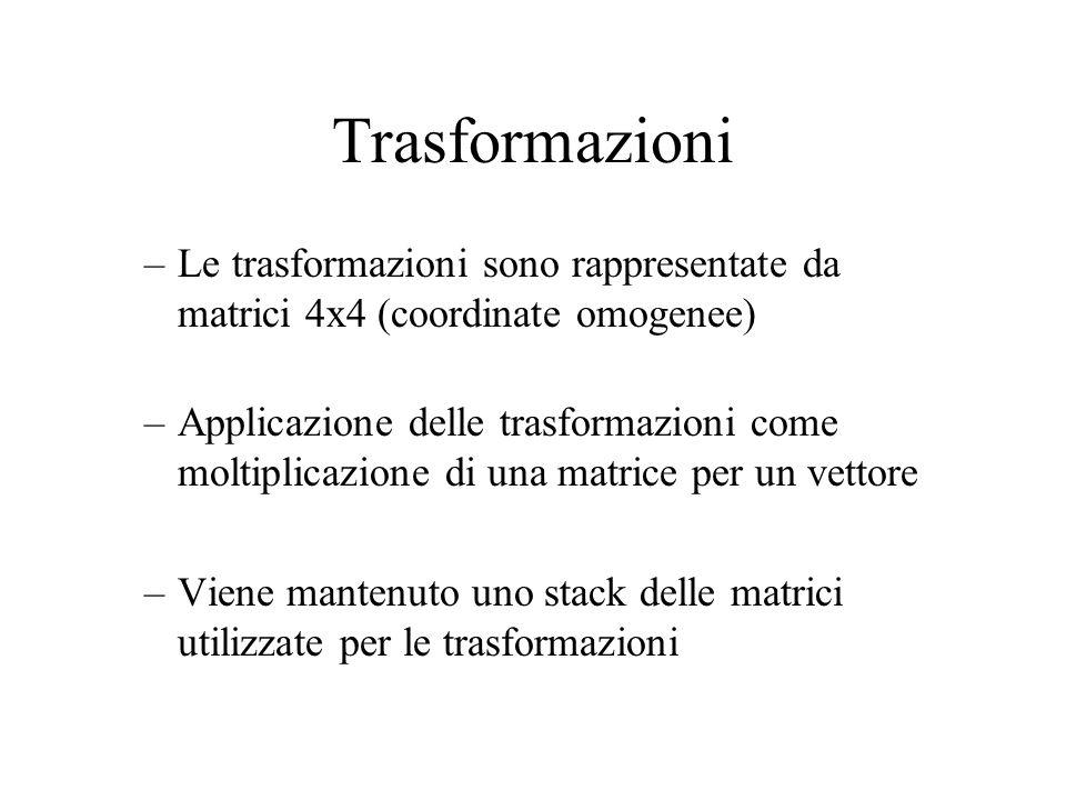 Trasformazioni –Le trasformazioni sono rappresentate da matrici 4x4 (coordinate omogenee) –Applicazione delle trasformazioni come moltiplicazione di u