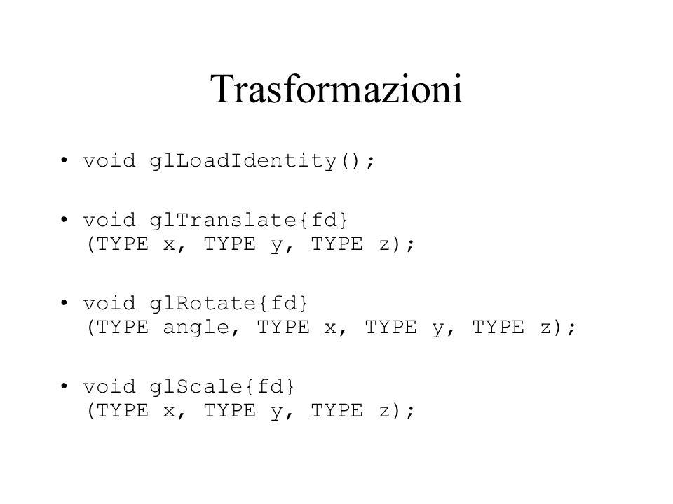 Trasformazioni void glLoadIdentity(); void glTranslate{fd} (TYPE x, TYPE y, TYPE z); void glRotate{fd} (TYPE angle, TYPE x, TYPE y, TYPE z); void glSc