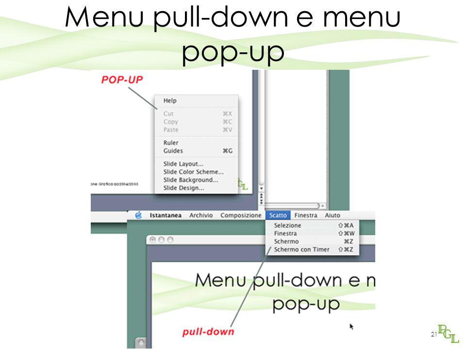 Programmazione Grafica aa2005/200621 Menu pull-down e menu pop-up