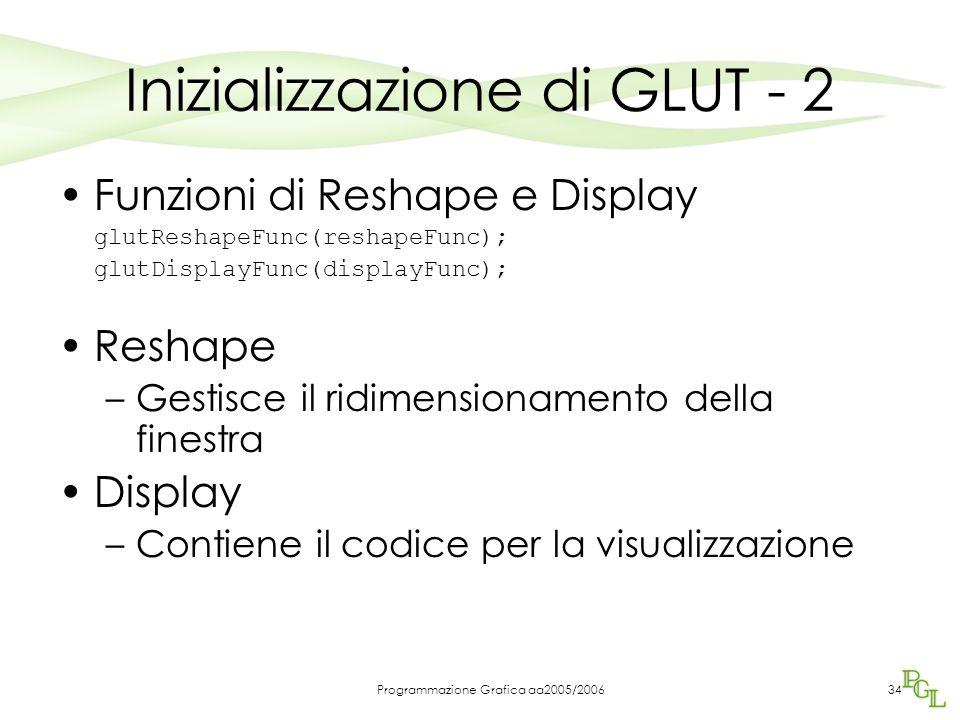 Programmazione Grafica aa2005/200634 Inizializzazione di GLUT - 2 Funzioni di Reshape e Display glutReshapeFunc(reshapeFunc); glutDisplayFunc(displayFunc); Reshape –Gestisce il ridimensionamento della finestra Display –Contiene il codice per la visualizzazione