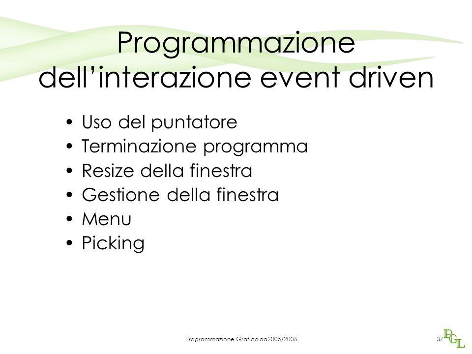 Programmazione Grafica aa2005/200637 Programmazione dell'interazione event driven Uso del puntatore Terminazione programma Resize della finestra Gestione della finestra Menu Picking