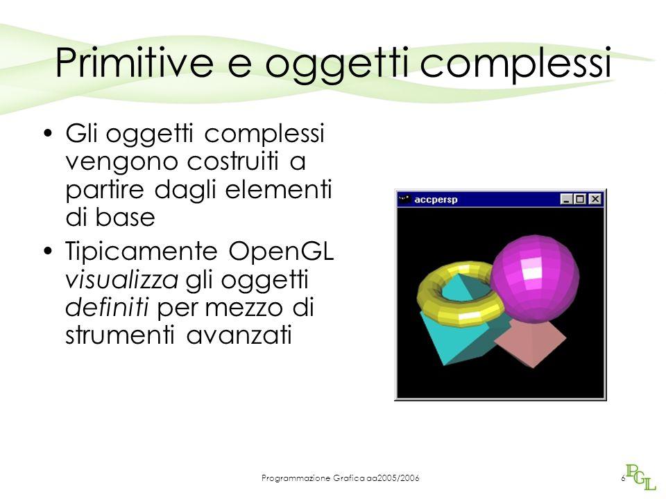 Programmazione Grafica aa2005/20066 Primitive e oggetti complessi Gli oggetti complessi vengono costruiti a partire dagli elementi di base Tipicamente OpenGL visualizza gli oggetti definiti per mezzo di strumenti avanzati