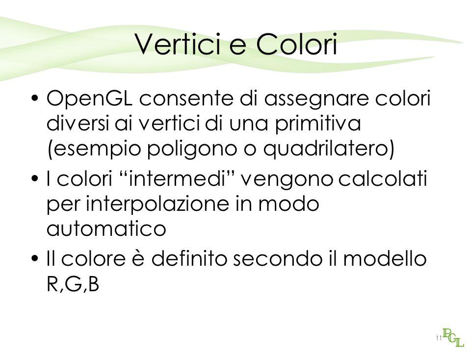 11 Vertici e Colori OpenGL consente di assegnare colori diversi ai vertici di una primitiva (esempio poligono o quadrilatero) I colori intermedi vengono calcolati per interpolazione in modo automatico Il colore è definito secondo il modello R,G,B