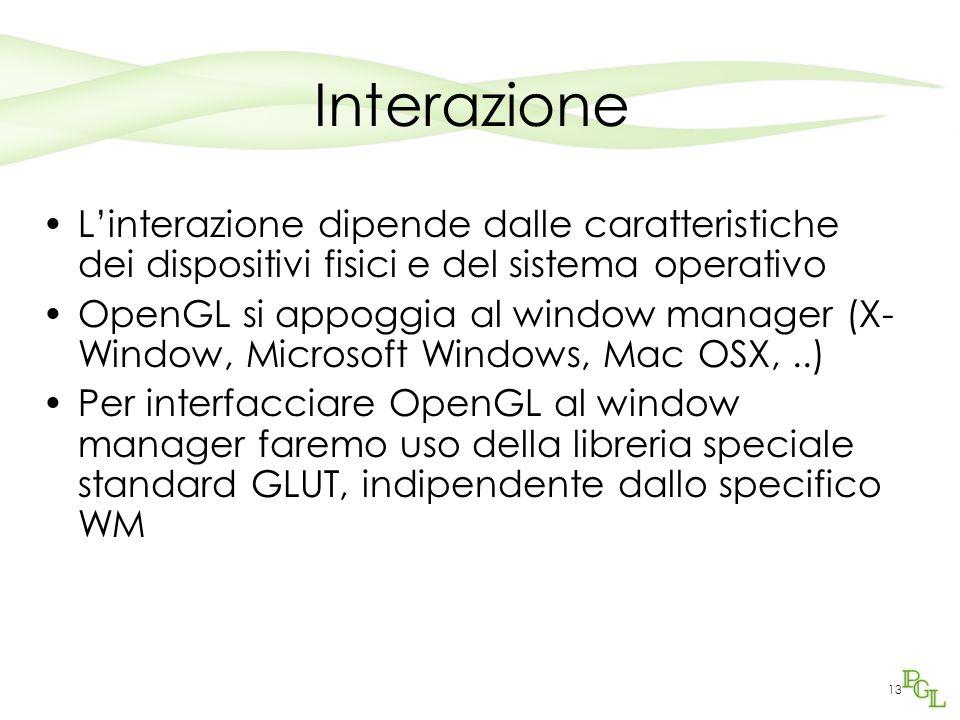 13 Interazione L'interazione dipende dalle caratteristiche dei dispositivi fisici e del sistema operativo OpenGL si appoggia al window manager (X- Window, Microsoft Windows, Mac OSX,..) Per interfacciare OpenGL al window manager faremo uso della libreria speciale standard GLUT, indipendente dallo specifico WM
