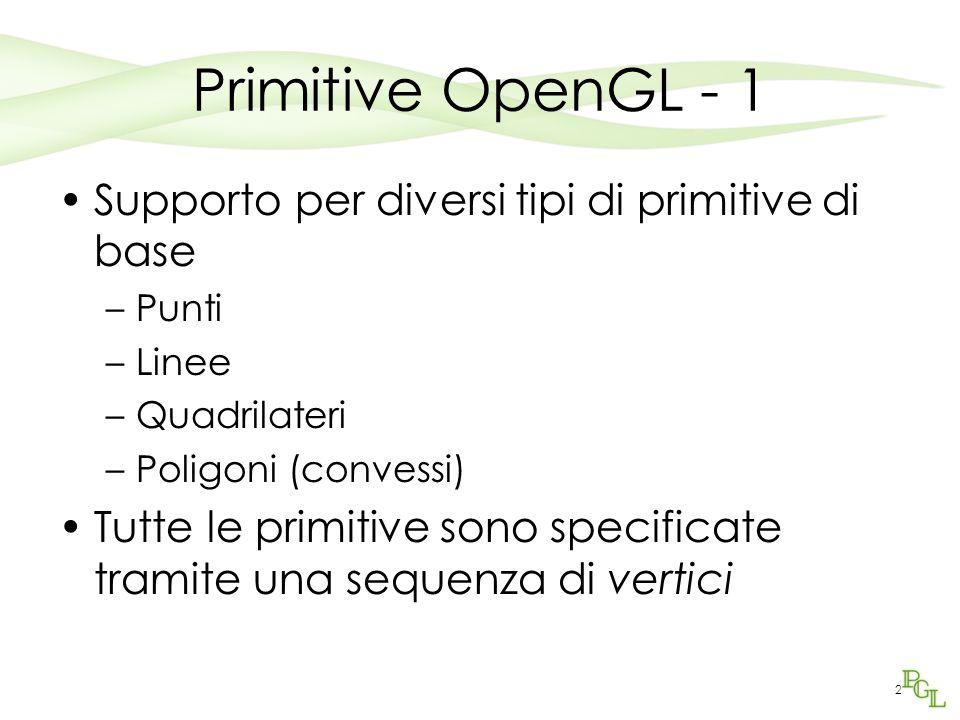 2 Primitive OpenGL - 1 Supporto per diversi tipi di primitive di base –Punti –Linee –Quadrilateri –Poligoni (convessi) Tutte le primitive sono specificate tramite una sequenza di vertici