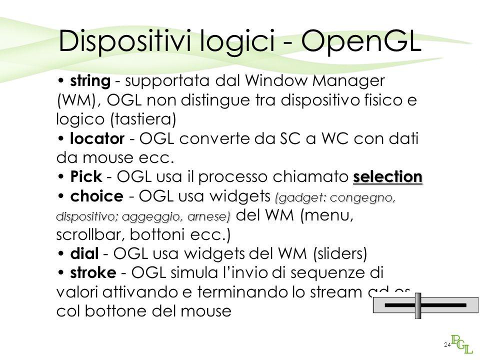 24 Dispositivi logici - OpenGL string - supportata dal Window Manager (WM), OGL non distingue tra dispositivo fisico e logico (tastiera) locator - OGL converte da SC a WC con dati da mouse ecc.