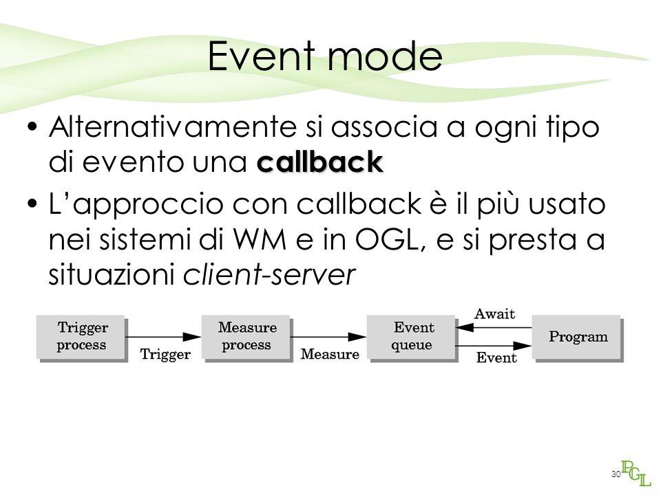 30 Event mode callbackAlternativamente si associa a ogni tipo di evento una callback L'approccio con callback è il più usato nei sistemi di WM e in OGL, e si presta a situazioni client-server