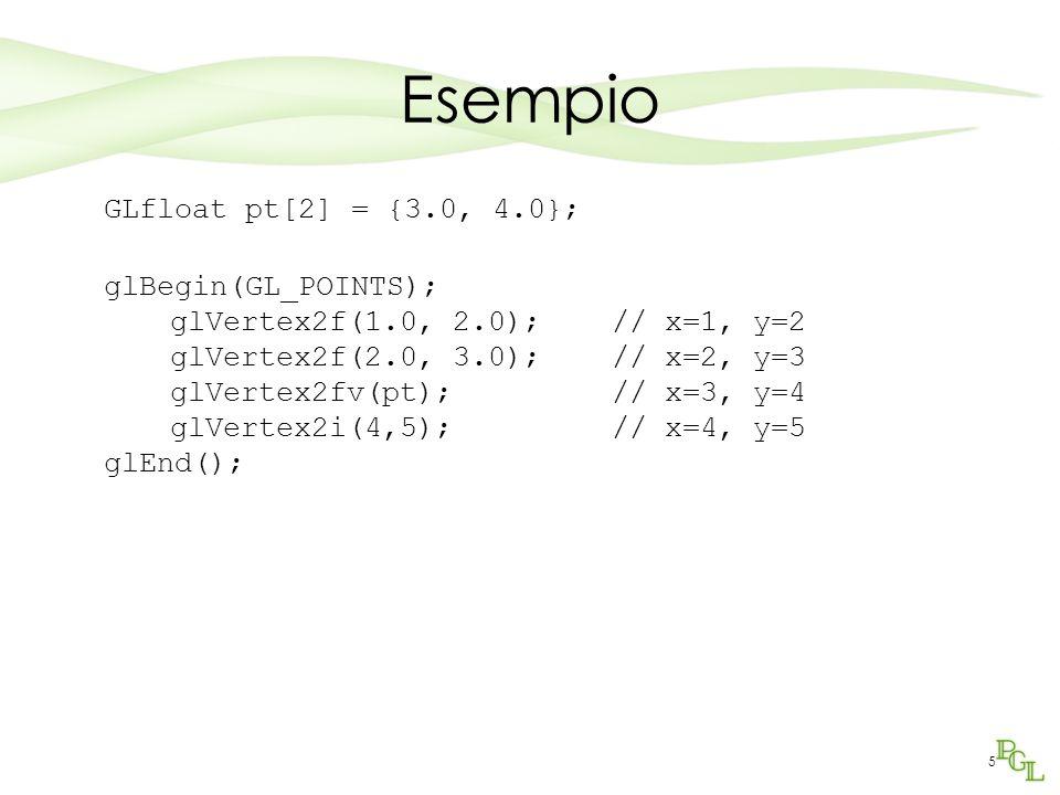 5 Esempio GLfloat pt[2] = {3.0, 4.0}; glBegin(GL_POINTS); glVertex2f(1.0, 2.0); // x=1, y=2 glVertex2f(2.0, 3.0); // x=2, y=3 glVertex2fv(pt); // x=3, y=4 glVertex2i(4,5); // x=4, y=5 glEnd();