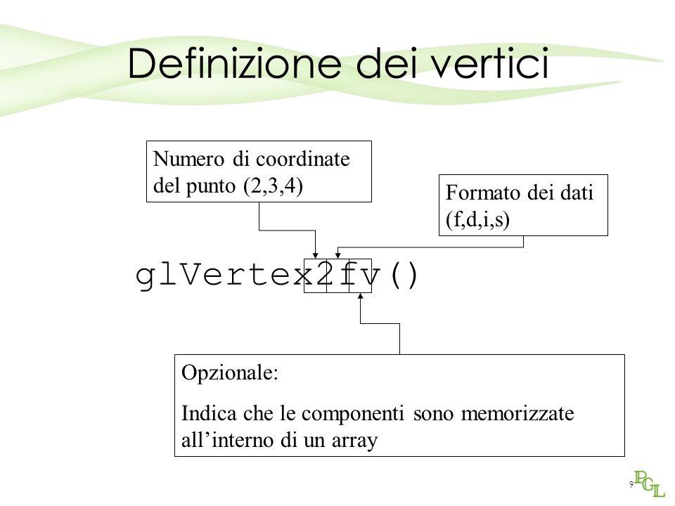 9 Definizione dei vertici glVertex2fv() Numero di coordinate del punto (2,3,4) Formato dei dati (f,d,i,s) Opzionale: Indica che le componenti sono memorizzate all'interno di un array